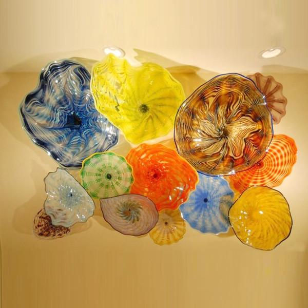 100% Hand Blown Murano Glass Hanging Plates Wall Art Dale Chihuly Style Borosilicate Glass Art Hand Blown Multi color Glass FlowerPlates