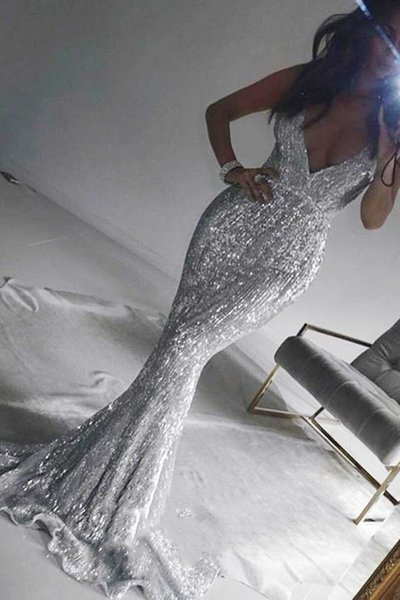 Bling Silver Sequins Mermaid Prom Dresses 2019 Spaghetti Straps Backless Evening Gowns Long Formal Party Dresses Graduation Dresses