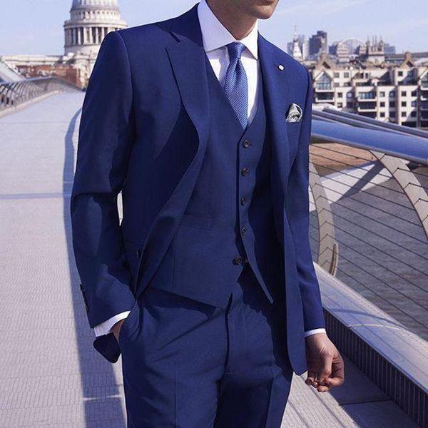 Dark Blue Groom Tuxedos Notch Lapel Mens Wedding Tuxedos Fashion Man Jacket Blazer 3 Piece Suit(Jacket+Pants+Vest+Tie) 338