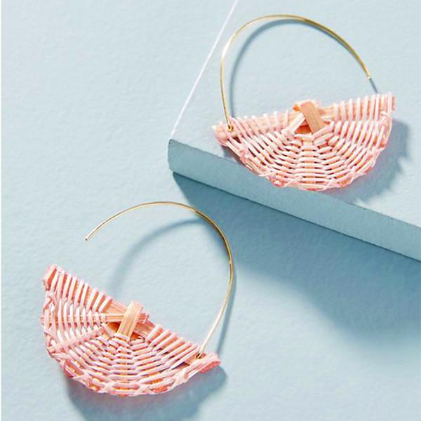 Pendientes de diseño Estilo exótico coreano Pendientes de aro de ratán tejidos a mano Joyas de diseño de lujo Pendientes de mujer des boucles d'oreilles