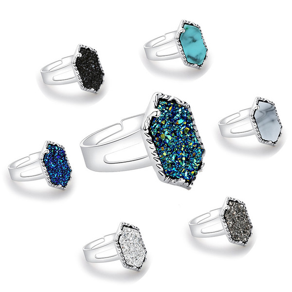 Diamond Cluster Ring Electroplated Silver Alloy Ring Druzy Drusy Natural Stone Love Claw Inlay Jewelry Christmas Gift