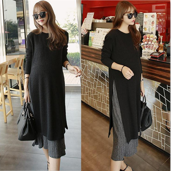 Pregnant Dresses Autumn Dress Loose Large Size Long-sleeved Korean Maternity Dress For Pregnant Women Breastfeeding Clothes