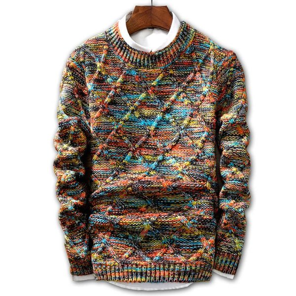 Pull Hommes 2019 Marque de mode Pull Pull Homme multicouleur bande O-Neck Slim Fit Hommes chandails de tricot Homme Pull Homme