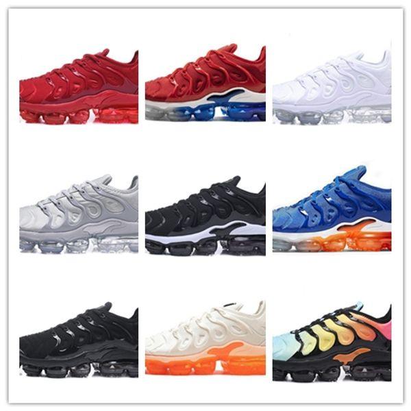 2019 TN Artı Erkekler Koşu Ayakkabıları Üçlü Siyah Beyaz Günbatımı Fotoğraf Mavi Kurt Gri ABD Tasarımcı Ayakkabı Spor Sneakers Eğitmenler 36-45