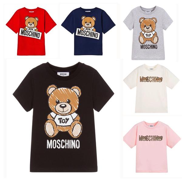 Crianças Designer de Camiseta Bonito Urso Padrão Tees Letras De Luxo Meninas Tops Meninos Ativos T-shirt Das Crianças Roupas Atacado 6 Estilos Venda Quente