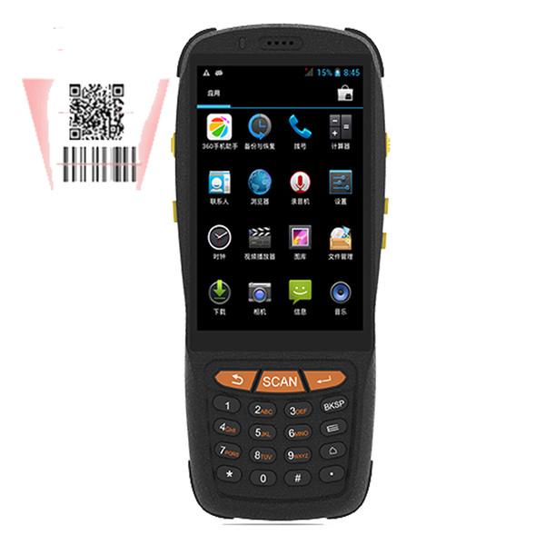 Touch screen portatile da 4 pollici Dispositivo scanner di codici a barre portatile Android 5.1 OS integrato nel lettore NFC 4G e 1 slot per schede SIM