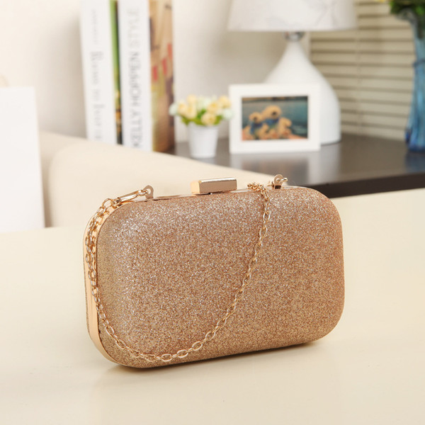 Dream2019 Year Oman's Dinner Chain Clip Package Square Gold Powder Mini- Single Shoulder Messenger Packet Tide Woman