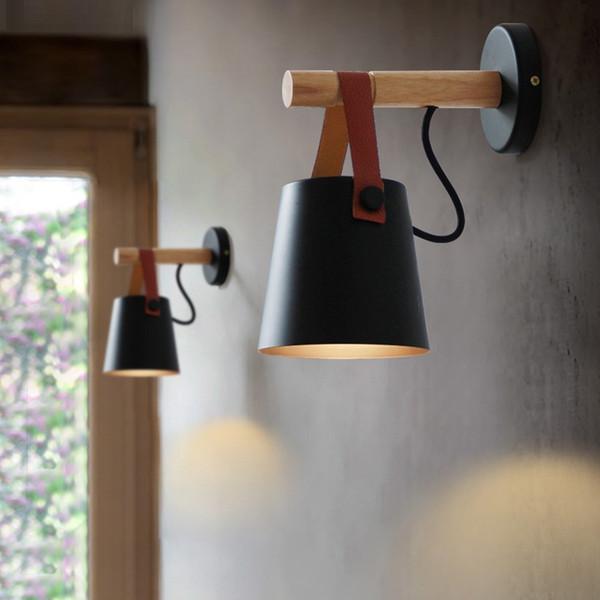 Nordic спальня простой железный ремень настенный светильник творческий оригинальный деревянный настенный светильник столовая исследование гостиная черный белый освещение