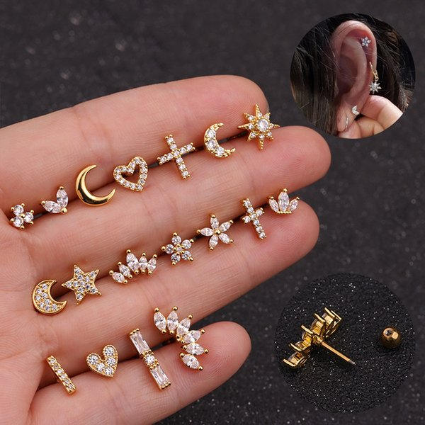 1PC New Fashion Silver Gold Color Stud Earrings Moon Star Heart Cross Flower Crown Earrings Punk Cartilage Helix Stud