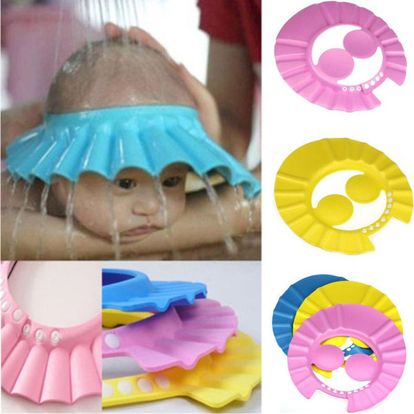 top popular Newborn baby girls boys shower caps infant toddler adjustable waterproof ear protection kids shower hats C1457 2021