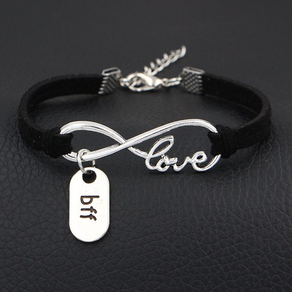 Dropshipping Hot Black Leather Suede Wrap Bracelet Bangles Silver Infinity Love Bff Sign Pendant Charm Friendship Boho Jewelry For Women Men