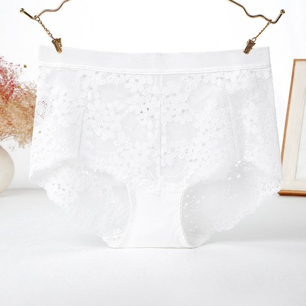 White underwear woman lace sexy hollow out hot high waist large size fat mm200kg belly lift hip triangle shorts