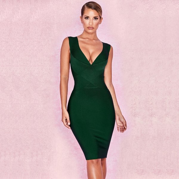 2019 зеленое вино красный V-образным вырезом слинг плотная повязка платье сексуальный вечер Bodycon Оптовая женская одежда осень платье + костюм