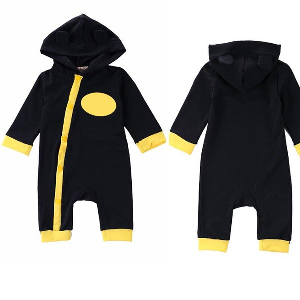 top popular Bafman jumpsuit 2019 Autumn Winter Cartoon Baby Clothing Romper Hoodies Funny Toddler Babies Jumpsuits with hat creeping suit C5 2019