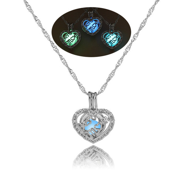 Luxury Luminous MOM Heart Pendant Open Glow in the dark beads cage Locket charm Silver chains For women Ladies Mother's Day Jewelry Gift