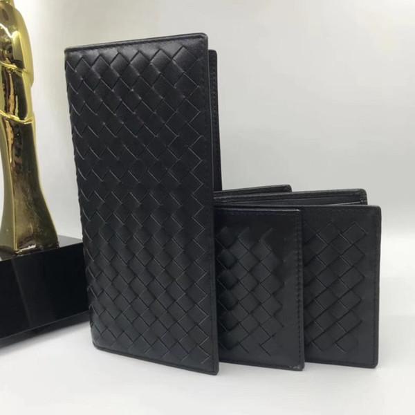 Hot Sale Wholesale VN-Knitting Calf Genuine Leather Short Wallet Hand-woven Cowhide Men's Purse Card Holder Gift Box Fashion Vintage Bag