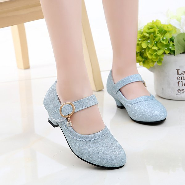 Kids High Heel Summer Princess Party Shoes For Girls Sandals Glitter Leather Shoes Children Crystal Rhinestone Dance Wedding New