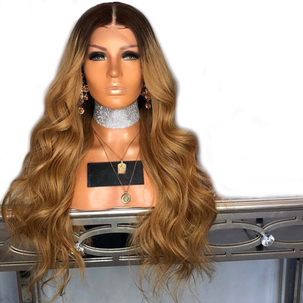 Lace Front Wig Ombre Synthetic For Black Women Long Body Wave Middle Part Heat Resistant Hair Glueless Synthetic Lace Wig With Baby Hair