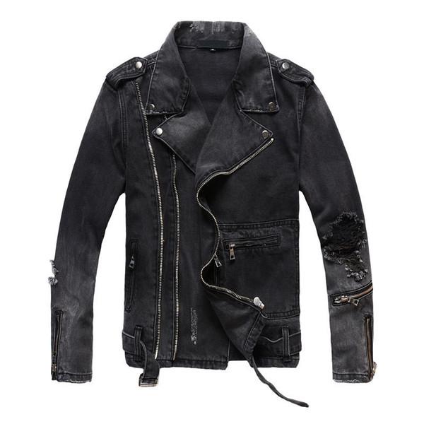 Nueva moda de alta de la calle para hombre vaqueros rasgados chaquetas con cremalleras multi Streetwear apenada motorista de la motocicleta de la chaqueta de los pantalones vaqueros T200102