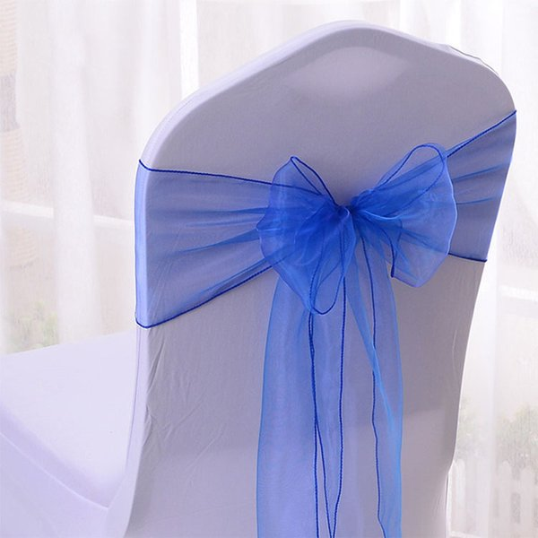 WedFavor 100pcs Royal Blue Organza Chair Sashes Wedding Chair Bow Ribbon Ties For Hotel Event Party Decoration