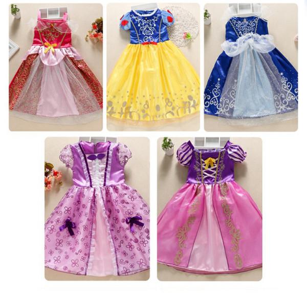 Novo design do bebê meninas vestido de traje de halloween Crianças Cinderela Branca de Neve Cosplay Baby Girl Vestidos de Princesa Rapunzel Aurora Belle saias