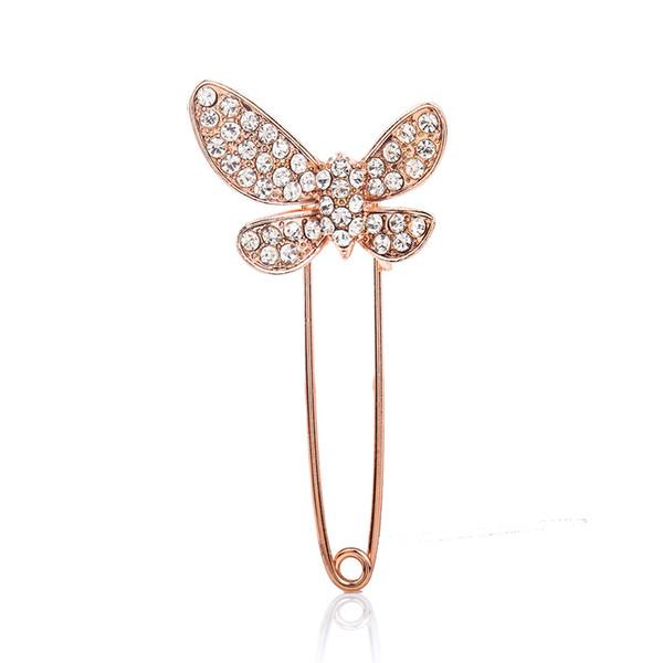 pretty Bow Brooch Pins for Women Crystal Rhinestones Cute Brooch Big Bow Down Collar Rhinestone Brooch