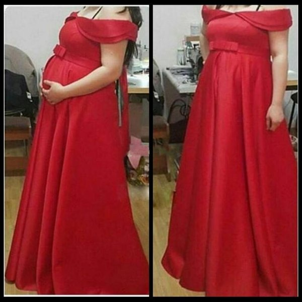 2018 Red Pregnant Evening Dresses Off Shoulder Bow Arabic Floor Length Maternity Dress Satin Party Gowns Robe De Soiree