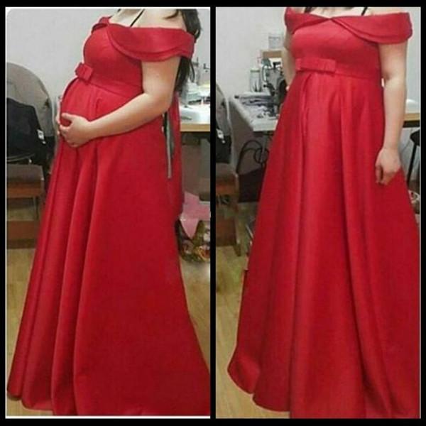 2018 Red embarazada vestidos de noche del hombro del arco árabe altura del tobillo Satén vestido de maternidad Vestidos Robe de soirée