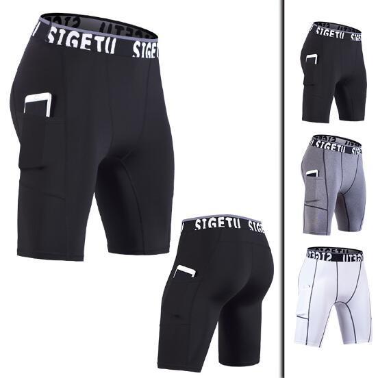 2019 Nuevos pantalones cortos para hombre Pantalones de fitness de verano Secado rápido Pantalones cortos ajustados Pantalones de yoga de entrenamiento de gimnasio Pantalones deportivos
