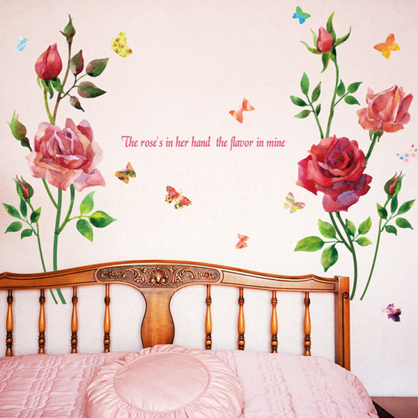 New Hand Painted Watercolor Rose Flowers Wall Sticker Home Decor TV Sofa Wall Refrigerator Window Art Mural PVC Butterfly Poster