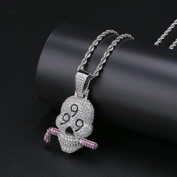 Necklaces For Hip Hop Men European and American Sytle Personality Trendy Zircon Micro Paved Platinum Plated Skull Pendant Necklaces LN136