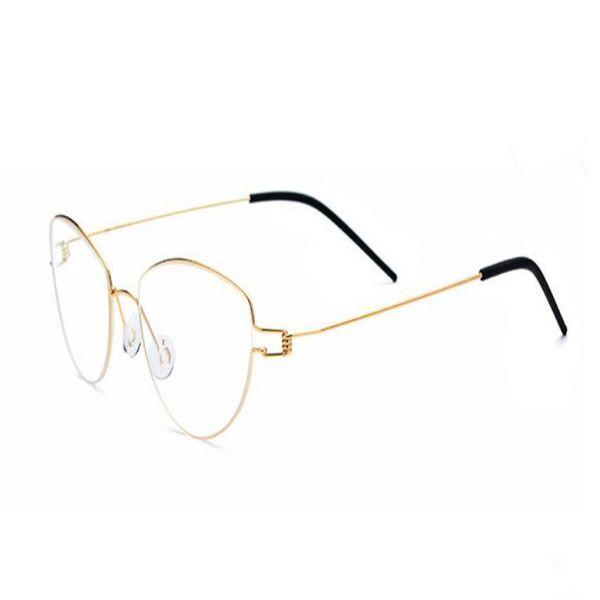 Cat Eye Design Unisex Fashion Full Rim Titanium Ultralight Optical Eyeglasses Gold Red Clear Lens Retro Optical Eyewear Frame