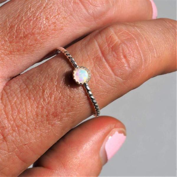 Kadın Yüzük Düğün Nişan Kuyruk halka Parti Kadın Yuvarlak Sahte Opal Kakma Parmak Takı Hediye kadının aksesuarları