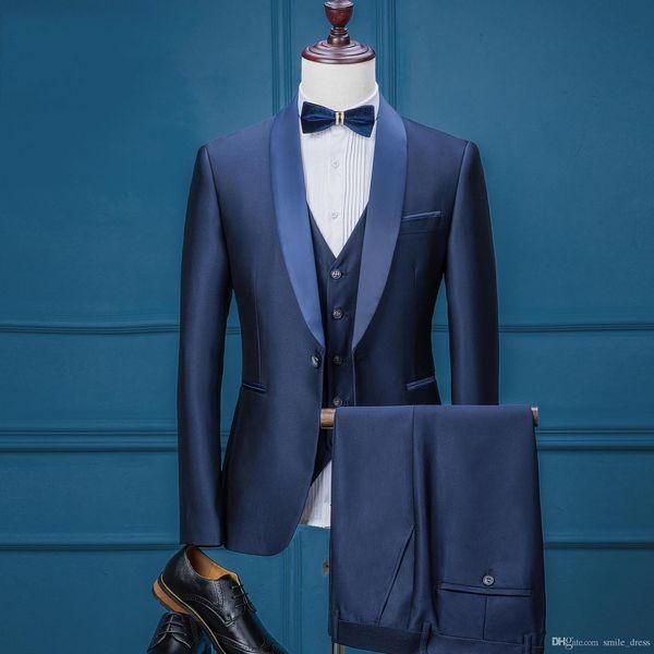 Groom Wear Tuxedo Men Wedding Suits Slim Fit Royal Blue Groom Suits For Wedding Formal Suits 3 Pieces (Jacket+Veil+Pants) SG004