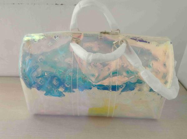Yeni stil şeffaf en kaliteli lüks tasarımcı seyahat bagaj çantası erkek kılıf keepall çanta duffle çanta marka moda tam 50 5585ad #