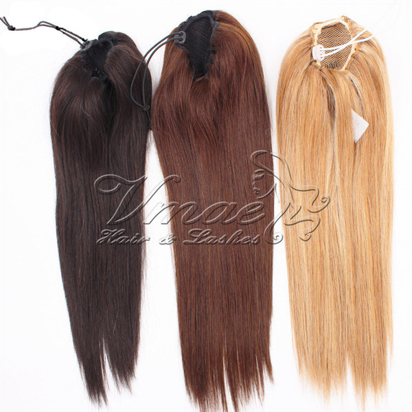 100g Straight Virgin Human Pony tail Hair Extensions Natural Non Remy Horsetail Tight Hole Clip In Drawstring Ponytail Blonde Brown Color