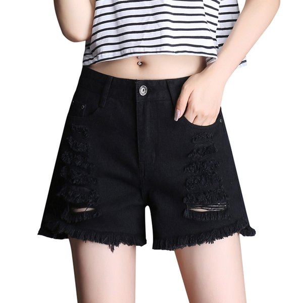 Destroyed Sexy High Waist Jeans Hot Shorts Women Black Denim Fashion Short Woman Summer Pole Dance Micro Ripped Shorts 66