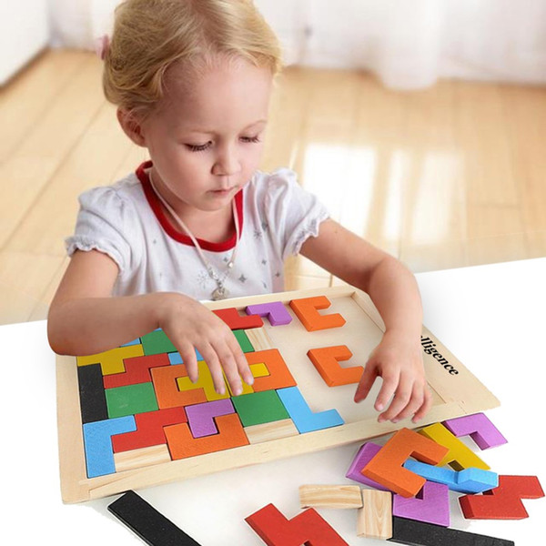 Building Block Wood Intelligence Tangram Brain Teaser Kids Toy Wooden Toys Tetris Game Educational Muti-Color Wooden Puzzle Toys