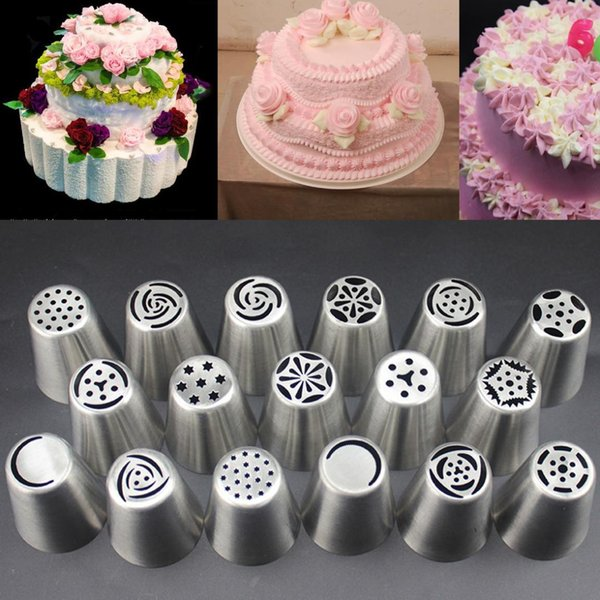 Hot 17Pcs Russian Tulip Stainless Steel Nozzles Cupcake Decorating Icing Piping Nozzles Flower Cream Pastry Tips Good Quality