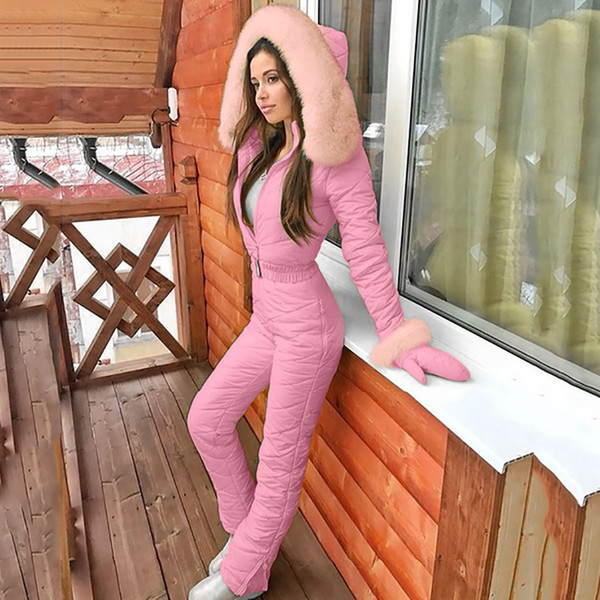 women fashion one piece ski jumpsuit casual thick winter warm snowboard skisuit outdoor sports skiing pant sets zipper ski suit - from $36.08
