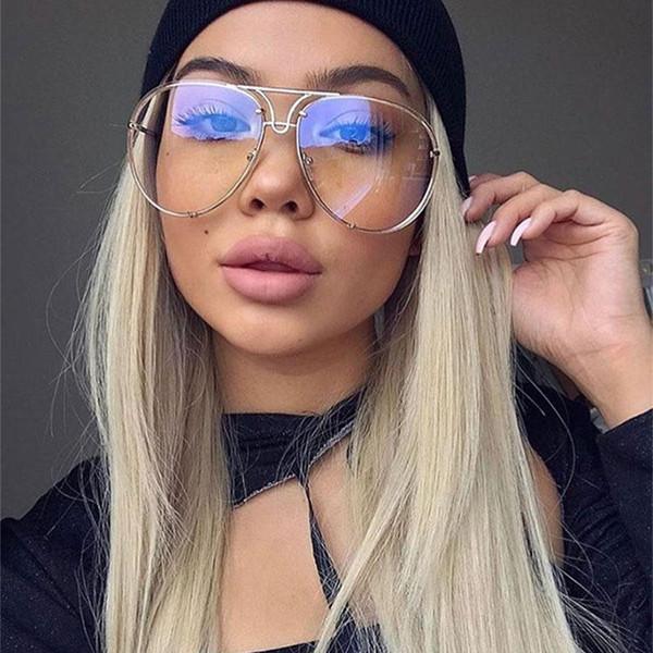 New Fashion Women Oversized Aviation Uv400 Sunglasses Lady Men cat eye sunglasses Brand Designer Clear Red Female Sun Glass 2017