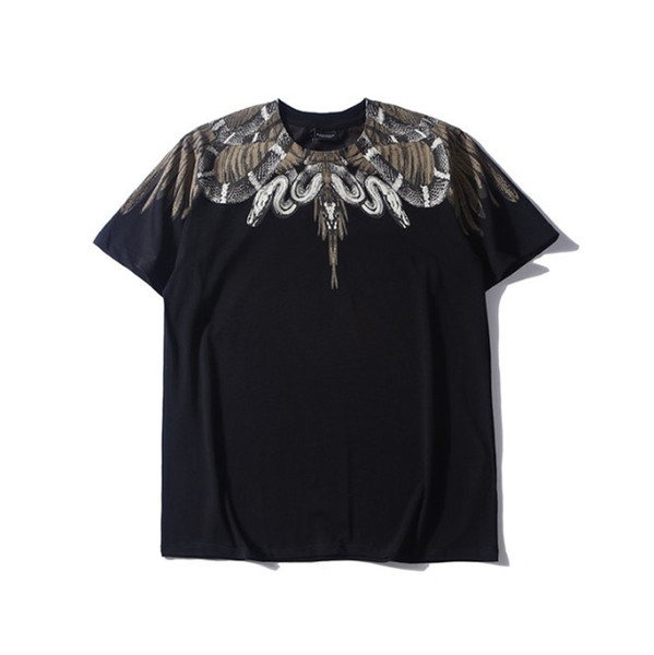 Summer Mens Casual Tshirt Black Snake Wings Hot Sale Short Sleeve Round Neck Tee for Male and Female M-2XL