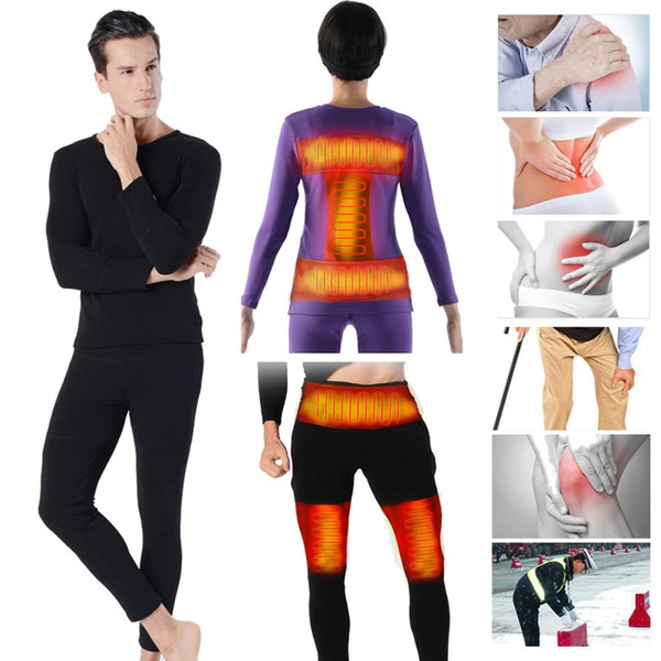 1 set insulated heating underwear adjustable charging heated carbon fiber pants for men women winter warm thermal thick sports thumbnail
