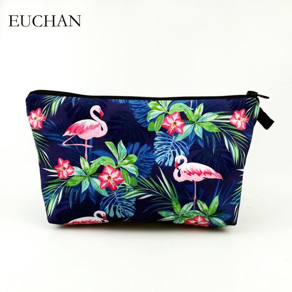 Borse di trucco di stampa 3D di Euchan con il sacchetto sveglio dei cosmetici del modello multicolore per le borse cosmetiche delle donne della borsa animale di viaggio di Floria