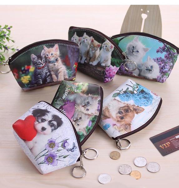 Gatos creativos Perros Monedero Monedero de cambio Monedero ID Titular de la tarjeta de crédito Monedero Monedero Estuche Bolso para llaves de impresión