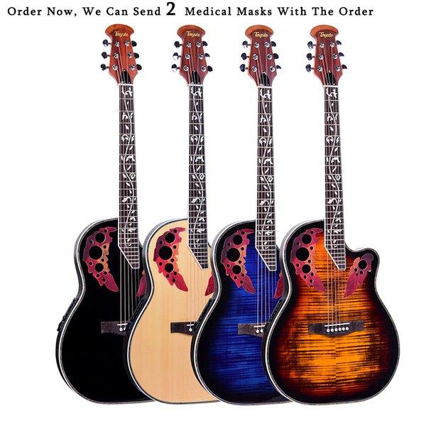 top popular 41 inch Folk Guitar 6 String Electric Box Light Spruce Guitar Rosewood Fingerboard Crack Guitar Pickup Concert AGT152 2020