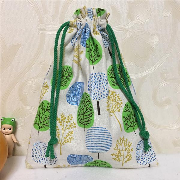 YILE Handmade Algodão Linho cordão Multi-purpose Organizador Gift Bag Verde Azul Khski 8123G