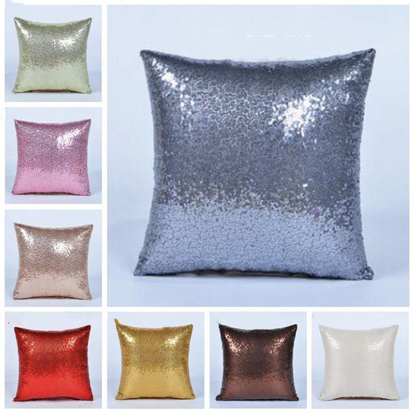best selling Glitter Sequins Pillowcase solid color cushion home sofa decorative car comfortable decor waist cushion cover Pillowslip 40*40cm TLZYQ1150