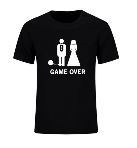 Game Over Marriage Ball and Chain Divertente regalo di nozze T-shirt da uomo Moda 2017 Manica corta O Collo Abito casual Taglie forti