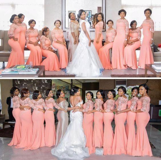 Nigerian African Plus Size Bridesmaid Dresses 2019 Coral Half Long Sleeves  Top Lace Sweep Train Maid Of Honor Evening Occasion Gowns Cheap Bridesmaid  ...